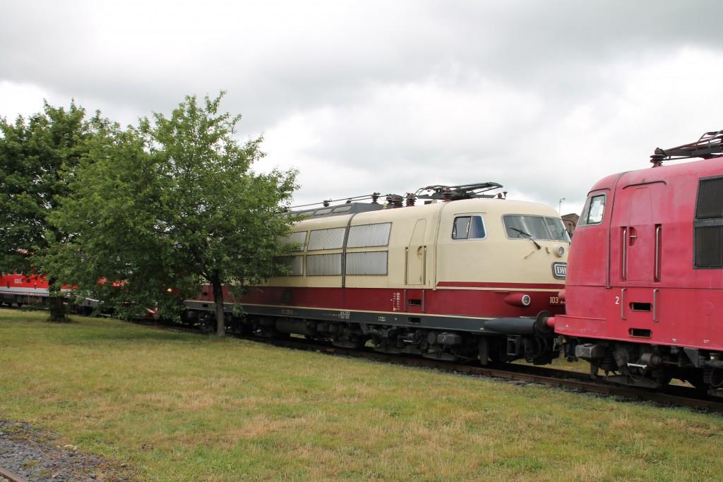 103 235 versteckt sich im DB-Museum in Koblenz Lützel am 13.06.2015 hinter einem Baum