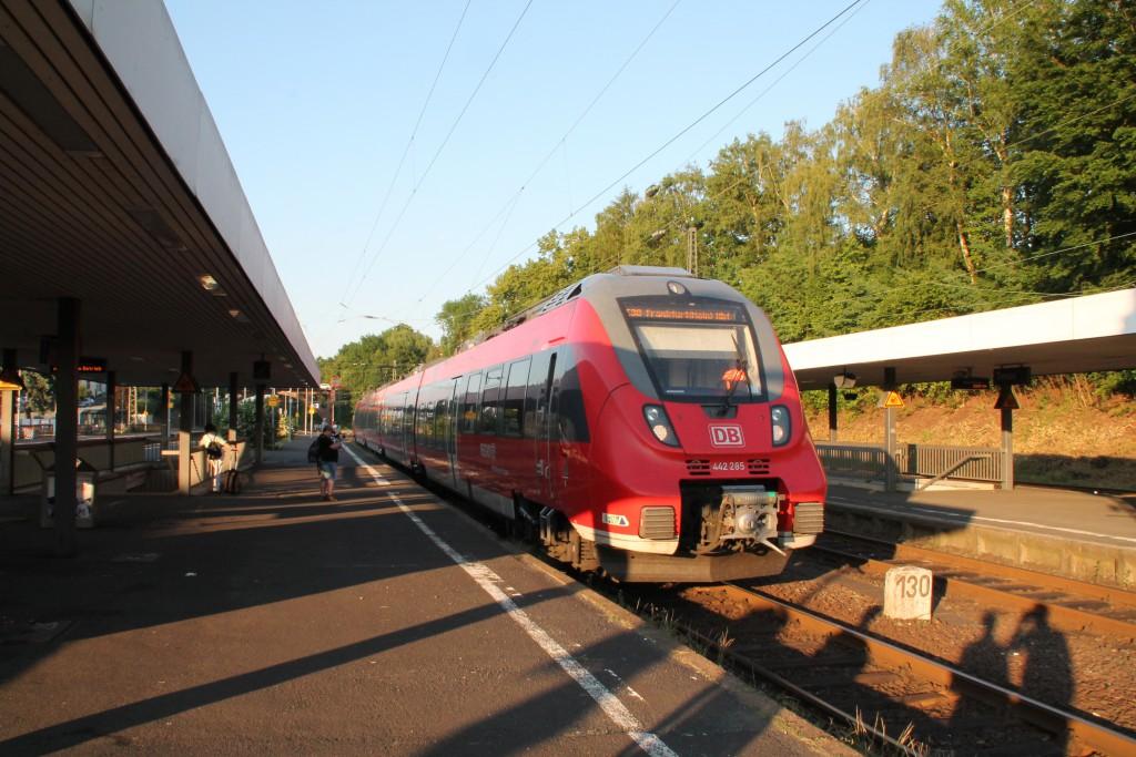 Am Abend des 05.06.2015 wartet 442 285 als Mittelhessen-Express, nach Frankfurt, im Bahnhof Treysa, auf der Main-Weser-Bahn.