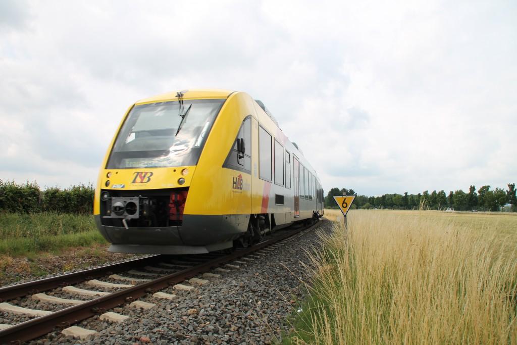 Ein LINT der HLB durchquert am 27.06.2015 die Felder bei Liederbach auf der Königsteiner Bahn.