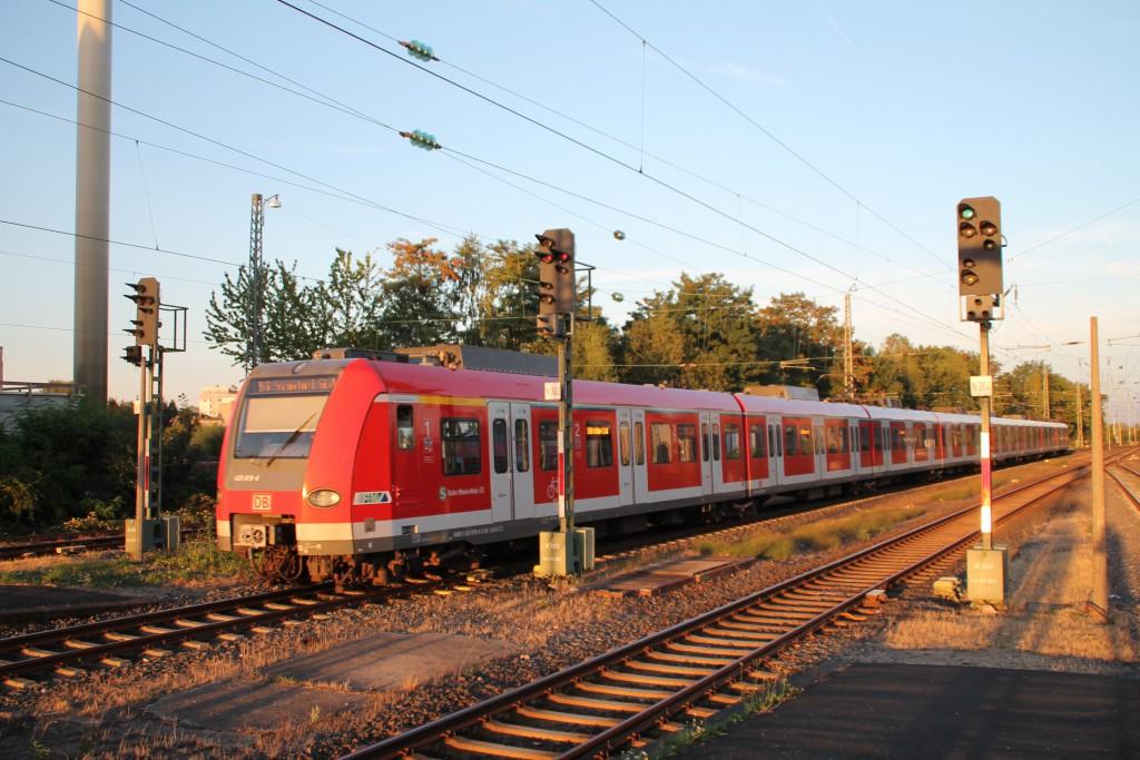 423 378 fährt am 29.08.2015 in Bad Homburg der Sonne entgegen.