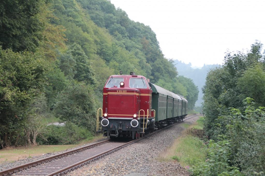 Am Waldrand von Ederbringhausen zieht V65 001 ihren Zug in Richtung Korbach, aufgenommen am 12.09.2015.