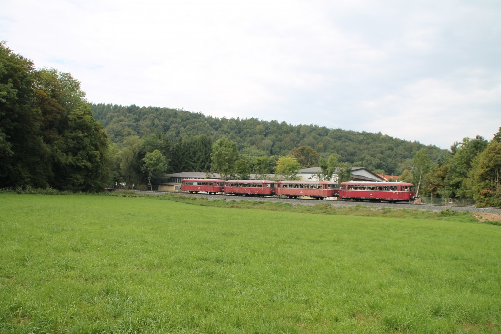 Die Wiesen zwischen Thalitter und Korbach durchquerten am 12.09.2015 die OEF mit ihrer vierteiligen Schienenbusgarnitur.