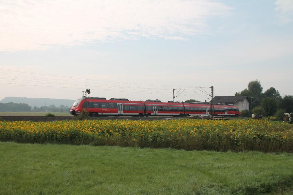 Ein TALENT 2 erreicht gerade den Bahnhof Niederwalgern auf der Main-Weser-Bahn.