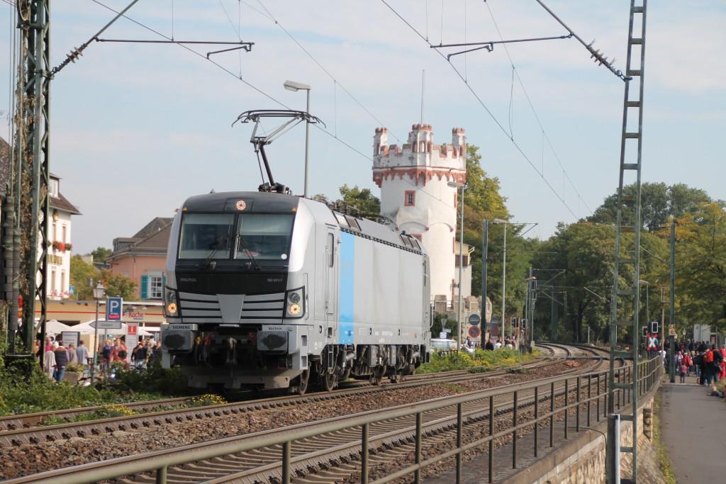 Wohl mal einer der leisen Züge auf der rechten Rheinstrecke, 193 811 fuhr am 03.10.2015 Lz Rheinabwärts.
