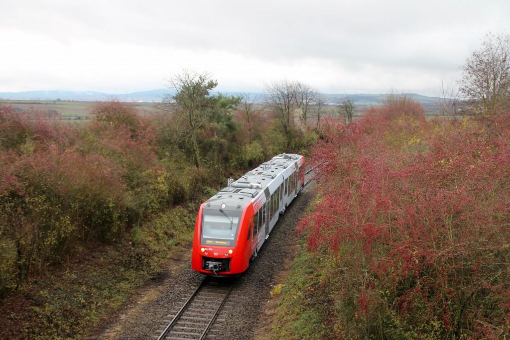 623 008 macht sich als RB auf den Weg nach Monsheim, aufgenommen bei Hohen-Sülzen am 21.11.2015.