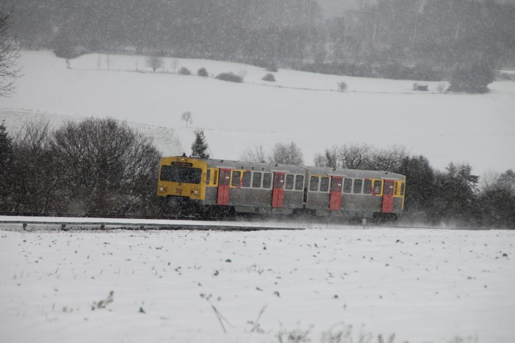 Ein VT2E der HLB in der Steigung bei Hundstadt, aufgenommen am 17.01.2016.