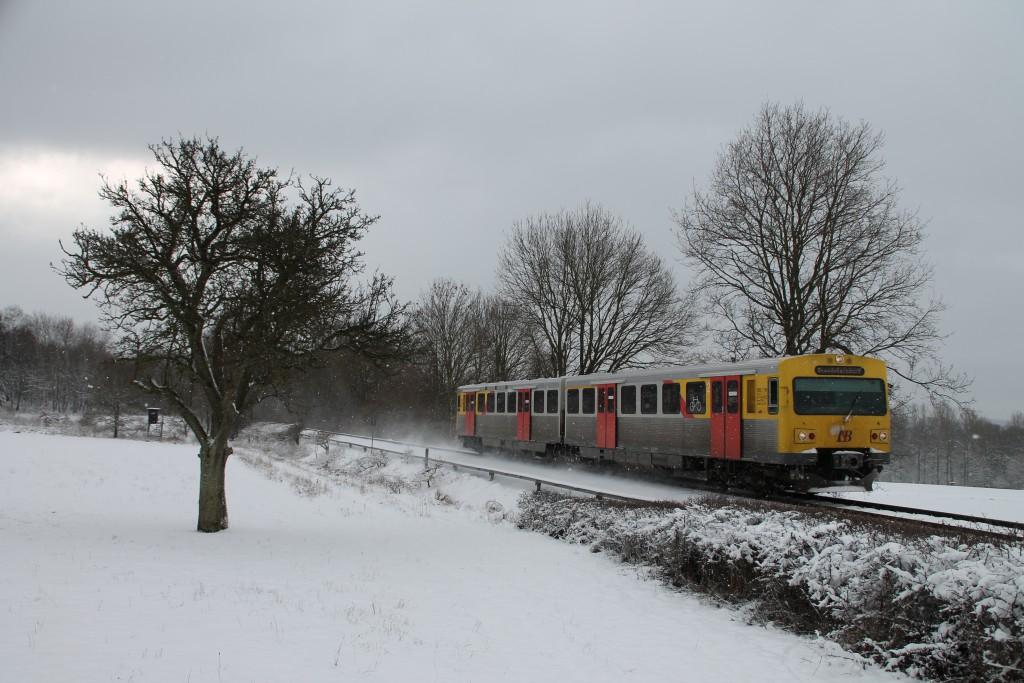 Ein VT2E der HLB zwischen Wilhelmsdorf und Hundstadt, aufgenommen am 17.01.2016.