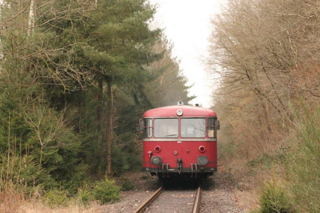 998 880, 998 250, 798 818, 798 622 und 796 724 im Wald bei Seifen auf der Holzbachtalbahn, aufgenommen am 06.03.2016.