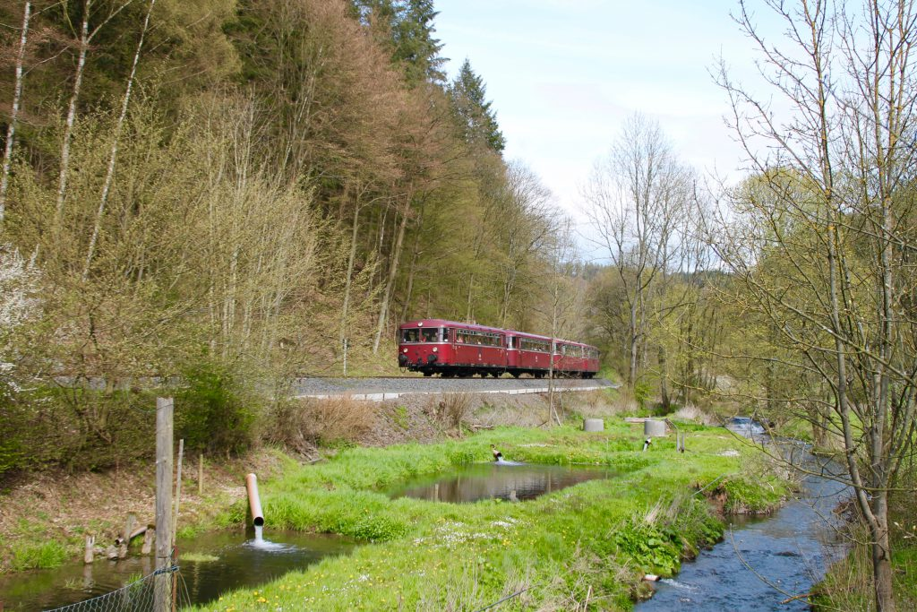 796 802, 996 309, 996 299 und 796 690 an einer Fischzucht bei Herzhausen auf der Burgwaldbahn, aufgenommen am 30.04.2016.