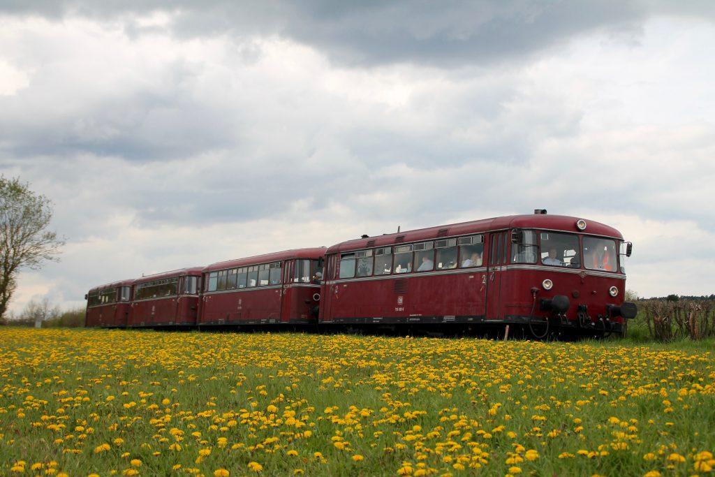 796 802, 996 309, 996 299 und 796 690 in einer Blumenwiese kurz hinter dem Haltepunkt Haine auf der Strecke Frankenberg - Battenberg, aufgenommen am 30.04.2016.
