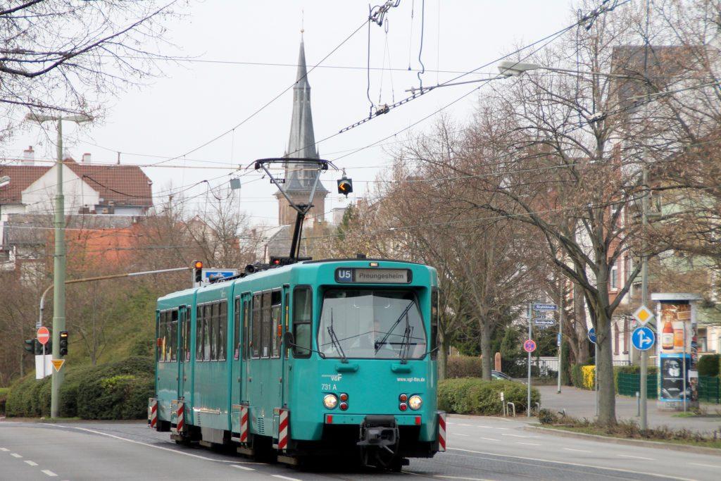 PTB Wagen der VGF in Frankfurt Eckenheim, aufgenommen am 03.04.2016.