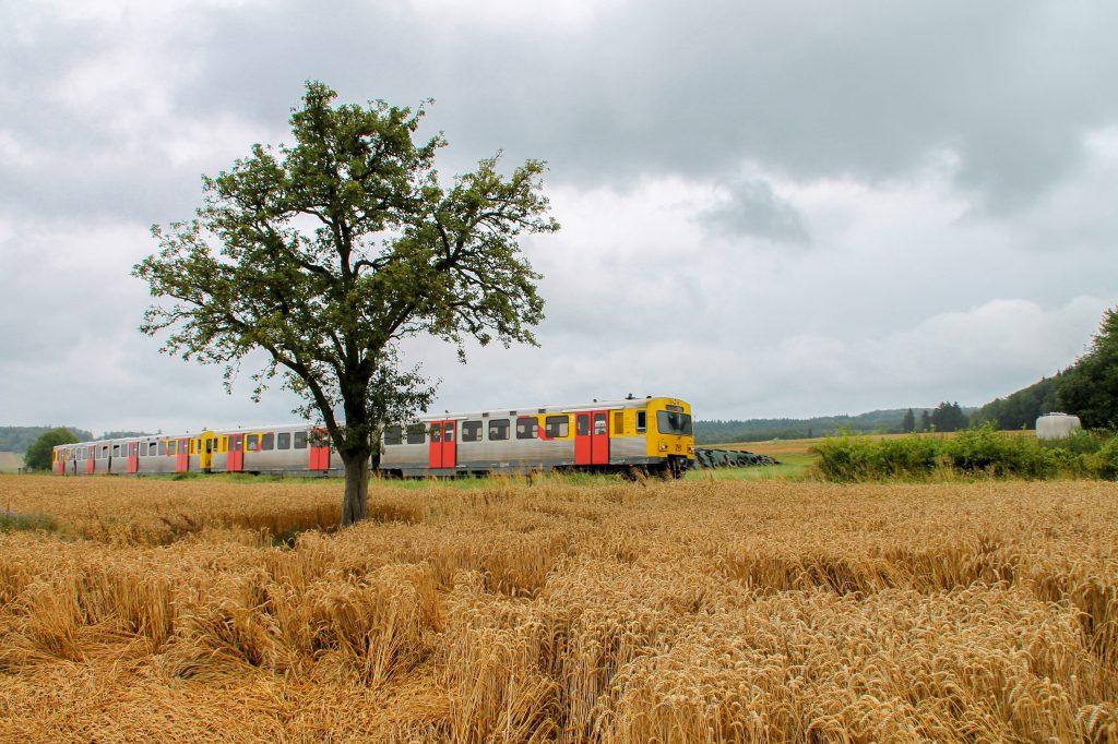 Zwei VT2E der HLB bei Hundstadt auf der Taunusbahn, aufgenommen am 05.08.2016.