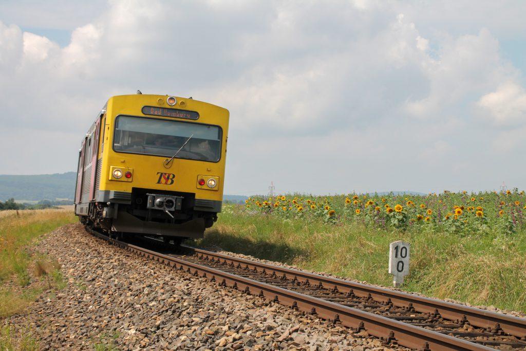 Ein VT2E der HLB an einem Sonnenblumenfeld bei Wehrheim auf der Taunusbahn, aufgenommen am 27.07.2016.