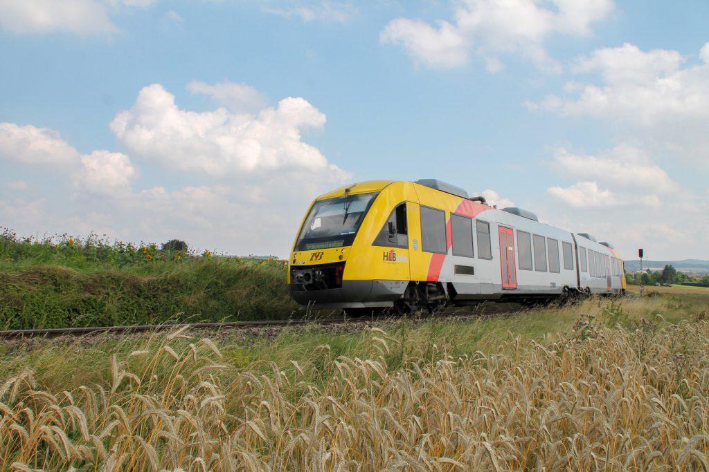 Ein LINT der HLB zwischen Sonnenblumen und Kornfeldern bei Wehrheim auf der Taunusbahn, aufgenommen am 27.07.2016.