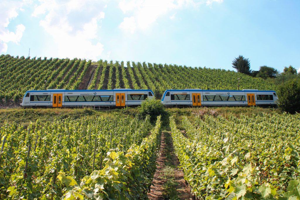 650 131 und 650 132 von Rhenus Veniro bei Reil auf der Moselweinbahn, aufgenommen am 27.08.2016.