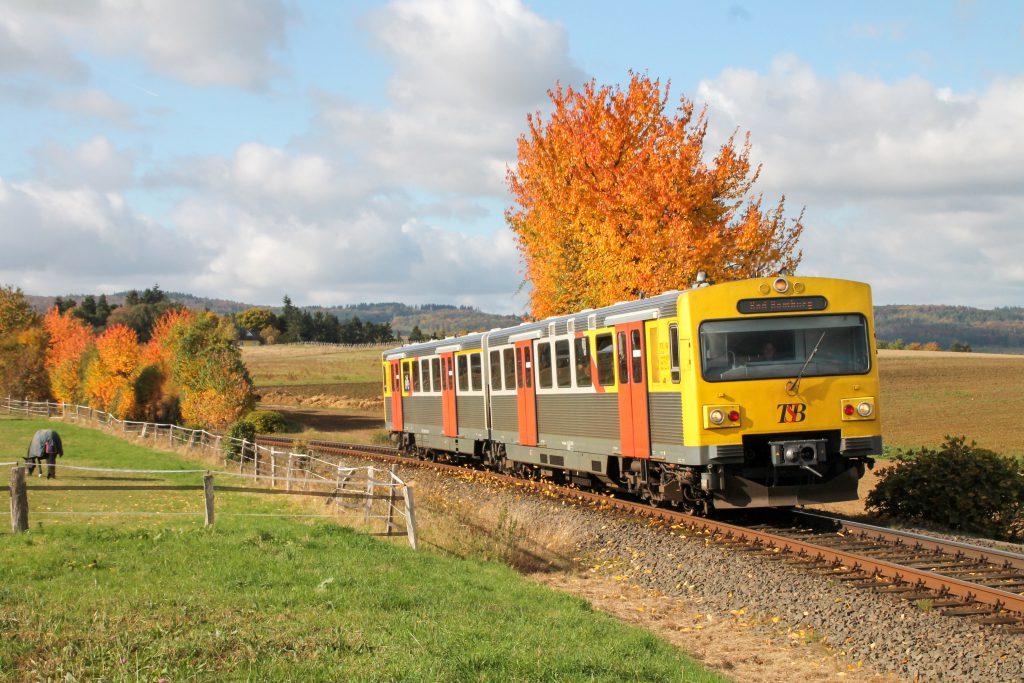 Ein VT2E der HLB an einem Pferdehof bei Neu Anspach auf der Taunusbahn, aufgenommen am 29.10.2016.